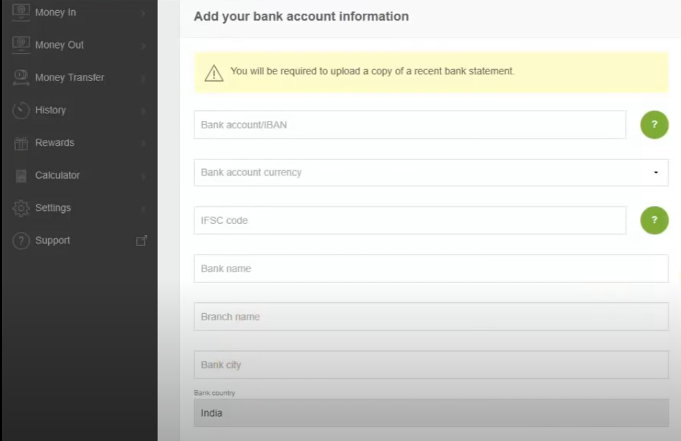 Filling Bank Account Details for Money Withdrawal
